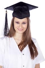 Junge Studentin mit Doktor Abschluss