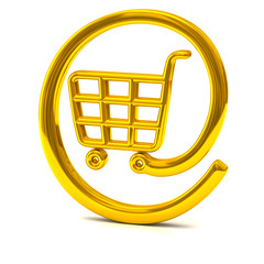 Golden internet on-line shopping basket icon 3d