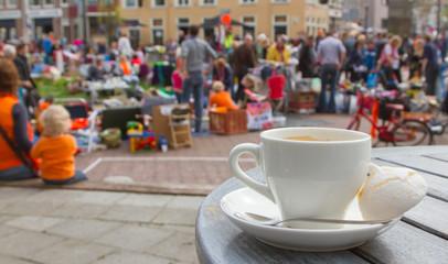 Typical Dutch flea market on Queen's Day