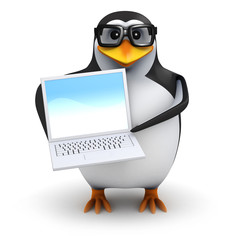 3d Penguin in Spectacles with Laptop
