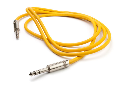 yellow electric guitar cable