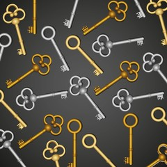 pattern of old keys, gold and silver isolated on black