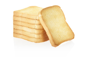 Rusk Bread Pile On White Clipping Path Included Buy This