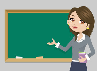 Teacher in front of chalkboard