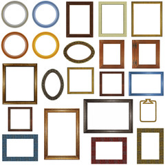 22 different picture frames isolated on white.