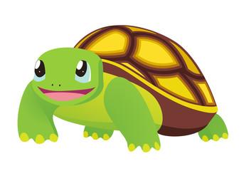 Cartoon Turtle. Vector illustration on white background