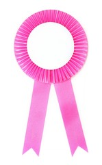 pink ribbon award isolated on white background