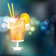 Cocktail on shiny background - place for text. Vector file.