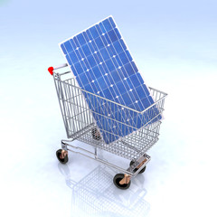 shopping cart with solar panel inside