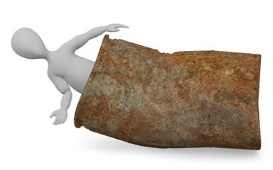 3d render of cartoon character with rusty barrel