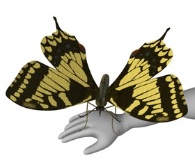 3d render of cartoon character with butterfly