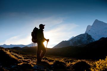 Hiker in Himalaya mountains Wall mural