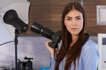 Portrait of attractive photographer