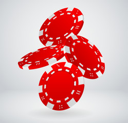 Illustration of Falling Red Poker Chips