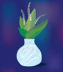 Greeting card with lily and vase