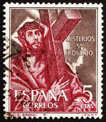 Postage stamp Spain 1961 Jesus Christ Carrying Cross