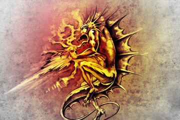 Wall Mural - Tattoo art, sketch of a dragon burning