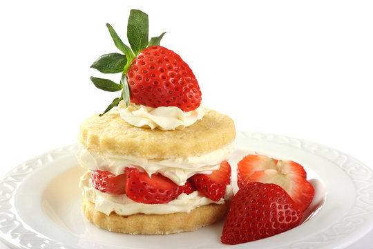 Strawberry and cream shortcake