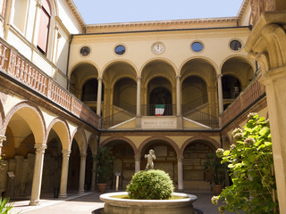 courtyard in the beautiful city of Bologna in Italy