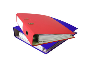 Stack of office folders isolated on white