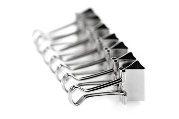 Row of steel metal clips
