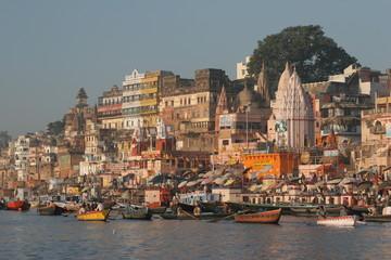 Poster India Varanasi - Blick vom Fluss