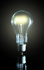 Glowing light bulb over a black background
