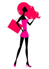 Retro girl shopping silhouette isolated on white