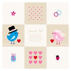 Wedding Card Cute Birds Beige