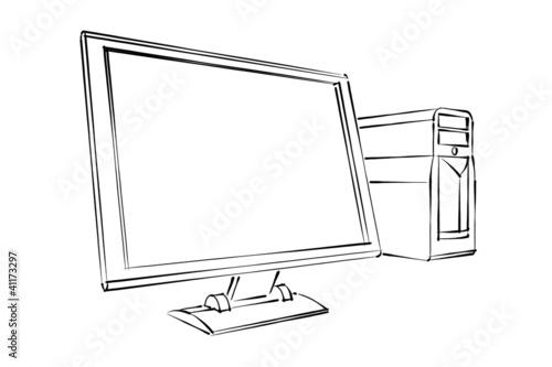 Desktop Computer Abstract Sketch