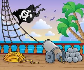 Foto op Plexiglas Piraten Pirate ship deck theme 1