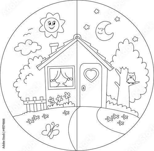 Casa Di Campagna Giorno E Notte Da Colorare Per Bambini Stock