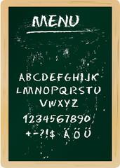 Restaurant menu board, chalk stroked alphabet, plus special char