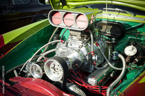 Wall mural powerful supercharge blower inside a hot-rod engine bay
