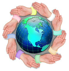 Hands around the earth.