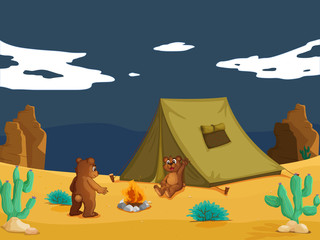 Keuken foto achterwand Beren Bears camping