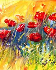 Garden Poster Painterly Inspiration piękne czerwone maki na łące