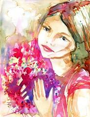 piekna młoda dziewczyna zbukietem różowych kwiatów