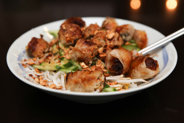 Fried Spring Rolls Vermicelli Low Angle