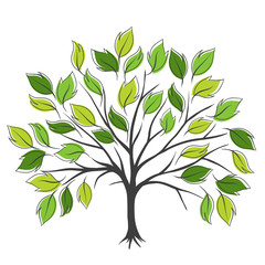 Hand draw abstract green tree, vector illustration.
