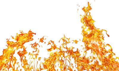 large orange fire on white