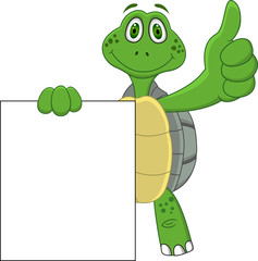 Funny turtle with blank sign
