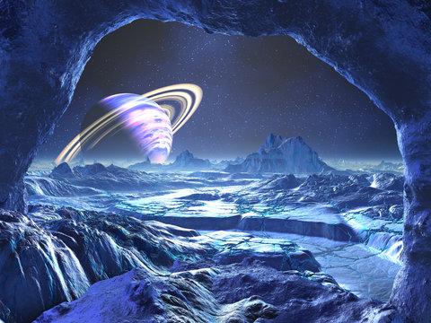 Electric Blue Alien Planet
