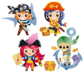 Foto op Plexiglas Piraten Cute cartoon pirates Set 2