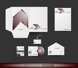 Metalic brown Arrow Stationery design set in vector format