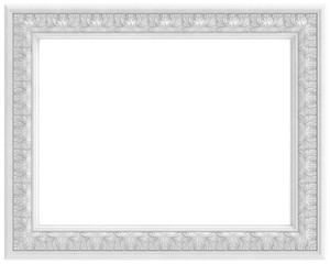white carved frame for picture (isolated on white background)