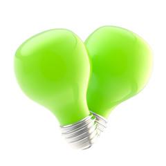 Safe energy as two green bulbs