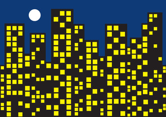 vector template with skyscrapers and moon at night