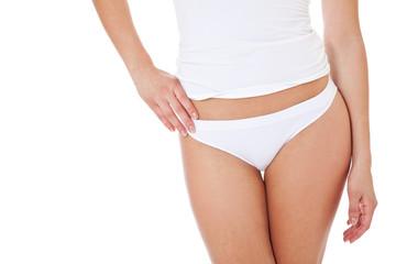 Attraktive weibliche Person in Unterwäsche