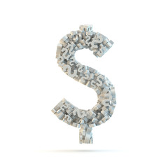 White dollar mark isolated on white.